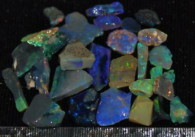 100 Cts Solid Gem Quality Lightning Ridge Rough And Rough Rubbed Opal Parcel 51