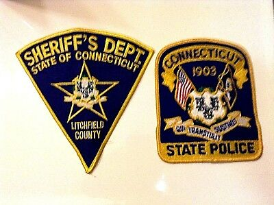 Litchfield County Ct Sheriff State Police Patches  Vintage Collectable