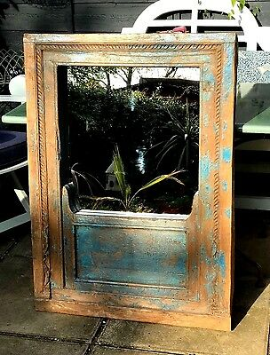 Antique / Vintage Indian, Huge Window Mirror. Turquoise, Hand-Carved Detail.