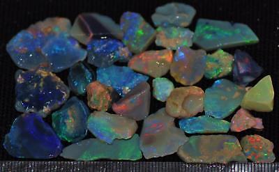 100 Cts Solid Gem Quality Lightning Ridge Rough And Rough Rubbed Opal Parcel 52