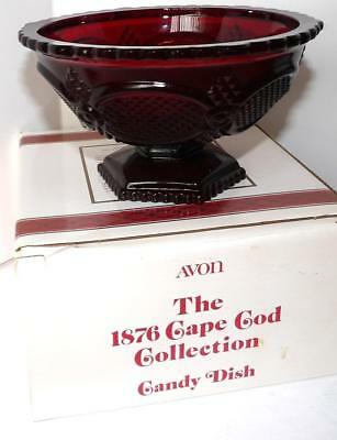 Avon 1886 Cape Cod Collection FOOTED CANDY DISH Ruby Red Glass NIB