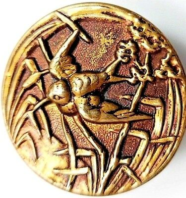 Excellent Brass Picture Button Copper Swallow Flying in Pond BMKD 36* L@@K  #60