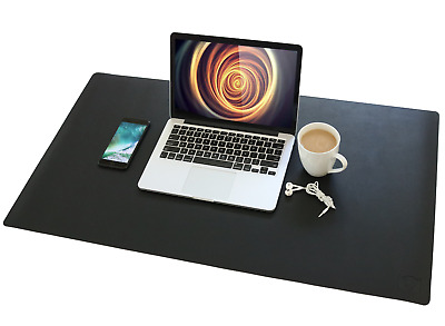VineCreations Leather Desk Pad Mat Blotter Midnight Black - Premium Quality