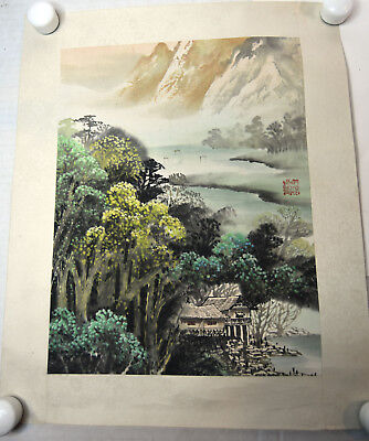 """13"""" Vintage Japanese Asian Signed Watercolor Silk Seascape Houses Mountain"""