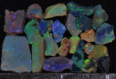 100 Cts Solid Gem Quality Lightning Ridge Rough And Rough Rubbed Opal Parcel 54