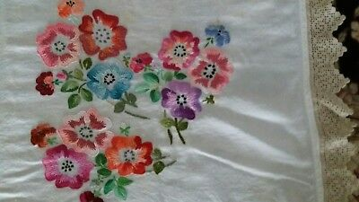 """Vintage Heavily Hand Embroidered & Crochet Tablecloth Pansies 52X56"""" 132X142Cm"""