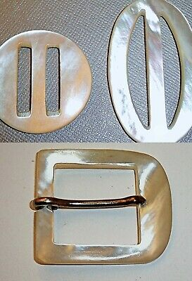 """3 Antique Carved Buckle VERY WHITE Mother of Pearl MOP LARGE 1.5"""" to 2.2"""""""
