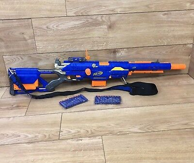 Nerf Sniper Rifle Gun - Longstrike CS-6 - New Darts - 2 Magazines - Bandolier B2
