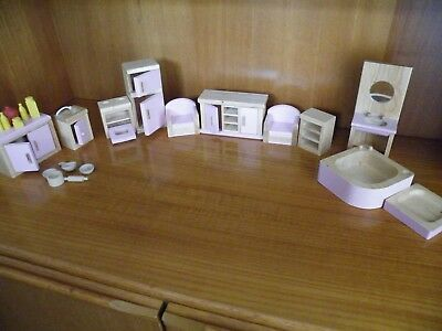 Wooden Dolls House Furniture - Pink & Wood - Kitchen,Living Room, Bathroom