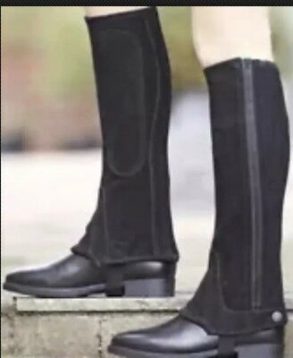 Shires Adults Suede Half Chap Black Brand New