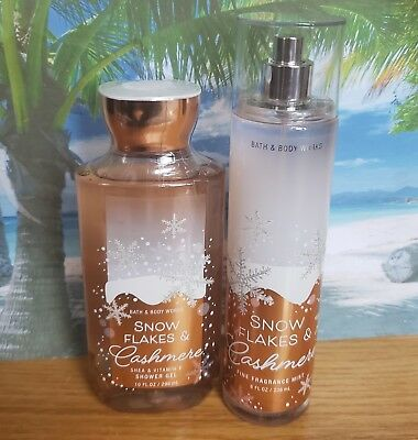 bath and body works snowflakes and cashmere shower gel and fine fragrance mist