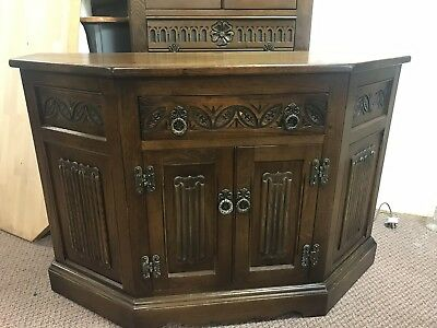 antique Old Charm Cabinet Tv Unit Sideboard Cupboard Drawer Lining Fold Carved