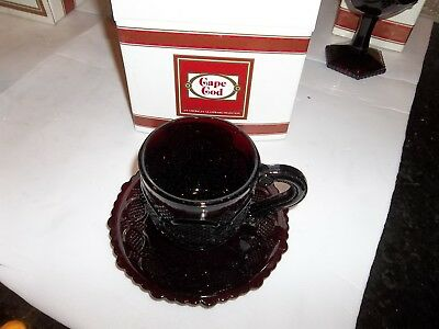 Avon Cape Cod 1876 Ruby Red Glass ~ Cup/Saucer Set ~