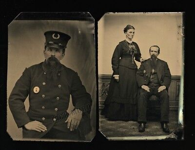 [2] Antique 1880s Tintype Photos Victorian Police Officer in Full Uniform & Wife