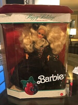 "Barbie doll 1991 happy holiday green velvet gown with ""jewels."