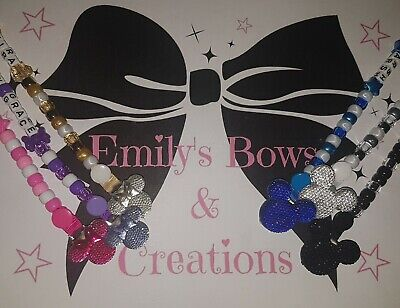 *BUY 2, GET 3RD FREE* Personalised dummy clip with mickey or minnie head