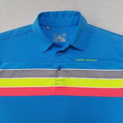 Under Armour Golf Polo Shirt Mens Large Reflective Neon Blue Rainbow Stripe