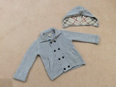 BOYS BURBERRY THICK CARDIGAN JACKET WITH DETACHABLE HOOD AGE 18 months 86cm