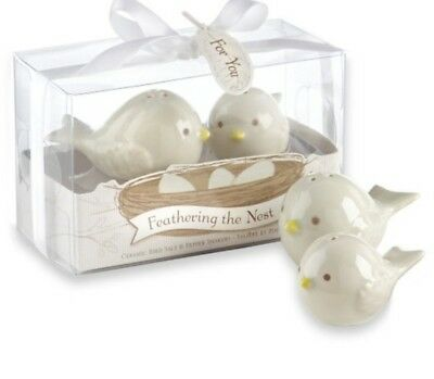 Ceramic mama and baby bird salt and pepper shakers