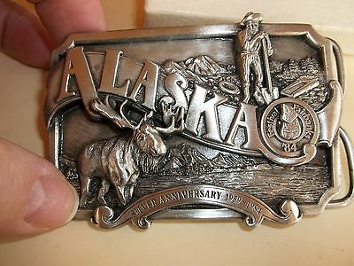 Alaska Pewter 25th Statehood Commemorative Men's Belt Buckle