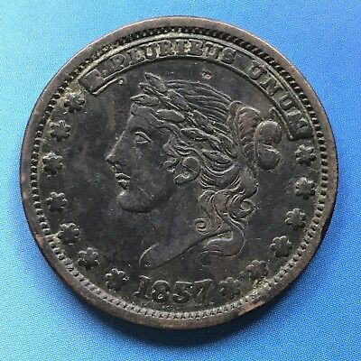 1837 Hard Times Token Copper - Millions For Defense One Cent For Tribute #7438