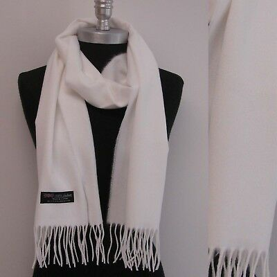 Solid White 100% CASHMERE SCARF MADE IN SCOTLAND Hight Quality UNISEX #e2r