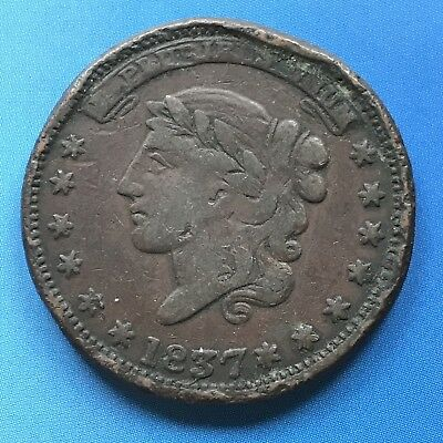 1837 Hard Times Token Copper - Millions For Defense One Cent For Tribute #7439