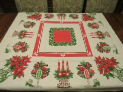 Vintage 50s CHRISTMAS Tablecloth MCM Mid Century Atomic Glass Vases Pottery RARE