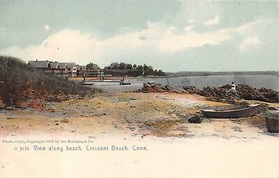 Early Crescent Beach, Niantic, East Lyme, Conn. PC pre-1907, View of Beach