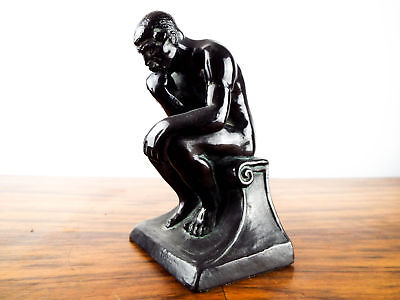 Vintage 1920s Bronze Clad Metal Bookend The Thinker Rodin Ronson Metal Art Ware