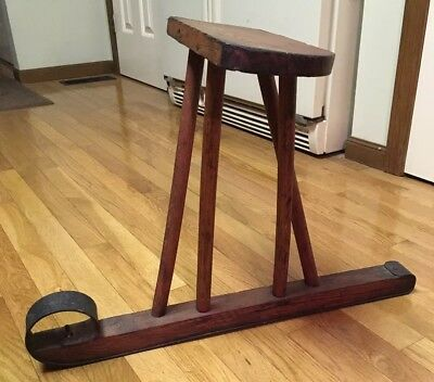 Antique Oak Wrought Iron Ski Jack Jumper Snow Sled - Go Devil Vintage Sit & Ski