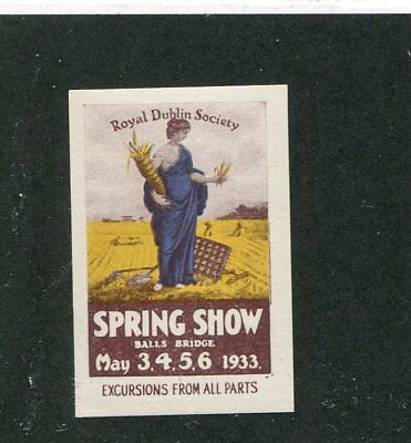 Vintage Poster Stamp Label ROYAL DUBLIN SOCIETY SPRING SHOW 1933 Ireland