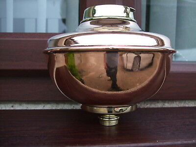 STUNNING COPPER AND BRASS OIL LAMP FONT / BOWL.  Hinks / Messengers type collar.