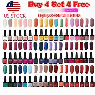 Over 100 Colors Gel Nail Polish Top&Base Coat UV Soak Off Shiny BUY 4 GET 4 FREE