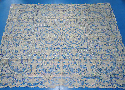 Vintage Needle Lace Tablecloth w 12 Napkins Flower Baskets 72 by 90 Inches