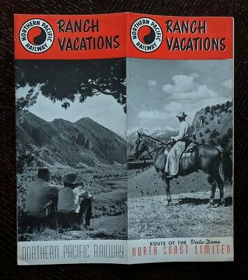 Northern Pacific Railway 1956 Ranch Vacations -North Coast Limited -NP MT-WY-WA