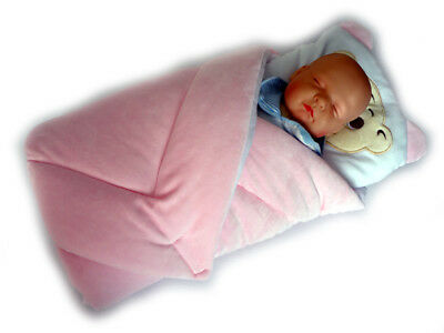 BlueberryShop velour Swaddle Wrap Blanket Duvet Newborn Baby with pillow pink