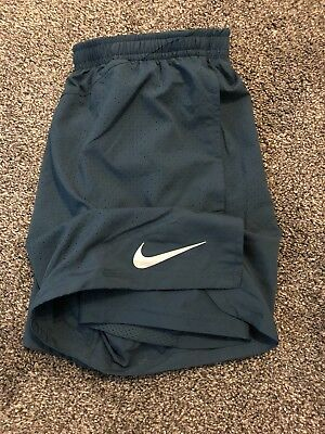 "Mens NIKE RUNNING 2 in 1 FLEX - 5"" Distance Shorts Size Medium. Green 904221-425"