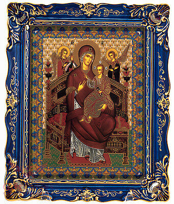 Porcelain gzhel decal Icon of Miraculous Mary Icon Икона Богоматерь Всецарица