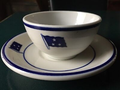 Shenango China US Navy WWII 3 star flag VICE ADMIRAL Mess Cup and Saucer set USN