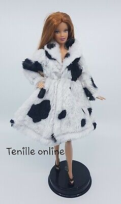New Barbie clothes outfit jacket fur coat sweater jumper white black spots