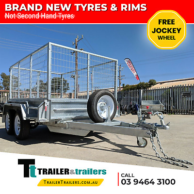 10x5 GALVANISED TANDEM TRAILER 3FT CAGE NEW WHEELS AND TYRES - JOCKEY WHEEL