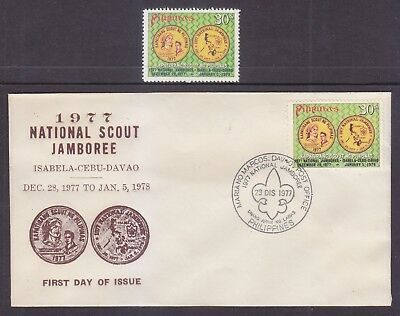Philippines Stamps 1977 MNH National Boy Scout Jamboree + FDC, Davao cancel