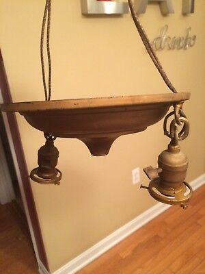 Antique Brass Victorian 2 Arm Brass Round Drop Light Ceiling G/E Lamp Fixture