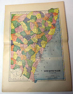 "1890s Antique ORIGINAL 15"" Map NSW New South Wales Australia"