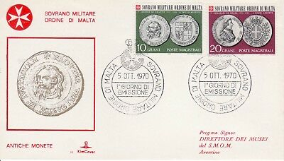 Sovereign Military Order of Malta SMOM FDC 1970 Coins (b)