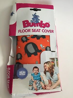 NEW Bumbo Floor Seat Cover Stretch Orange With Elephants Safety Belt Ready