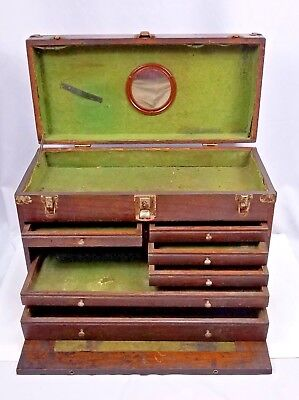 Antique Vintage Oak Wood Metal 7 Drawer Tool Jewelry Chest Machinist Tool Box