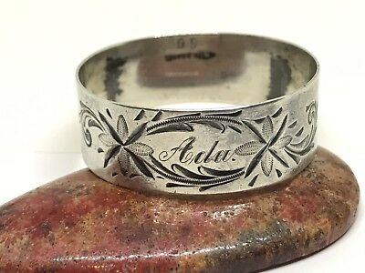 """Early ornate Sterling silver napkin ring engraved with the name """"Ada"""""""