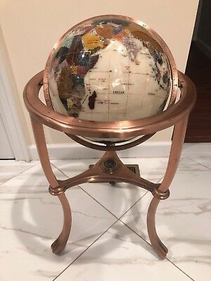 Alexander Kalifano beautiful Gemstone inlayed multicolored floor standing globe